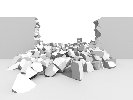 Abstract demolition. Cracked destructed hole wall. 3d render illustration