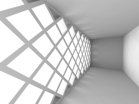 pitched roof: Abstract White Interior Architecture Design Background. 3d Render Illustration