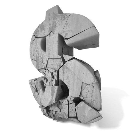 making hole: Crackedc destruction dollar currency symbol. 3d render illustration