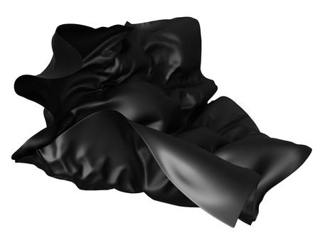 Tessuto di raso nero che vola nel vento. 3d rendering illustrazione Archivio Fotografico