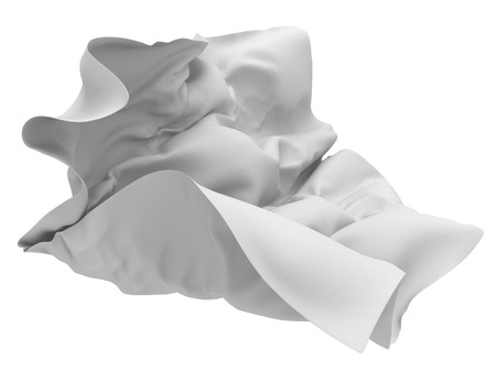 Flying white silk fabric with folds. 3d render illustration
