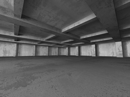 building lot: Empty dark abstract concrete room interior architecture background. 3d render illustration Stock Photo