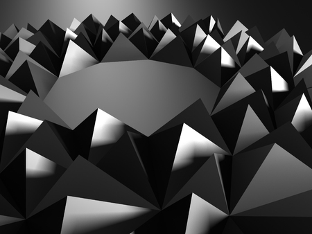 shiny argent: Dark silver background with triangles pattern. 3d render illustration Stock Photo
