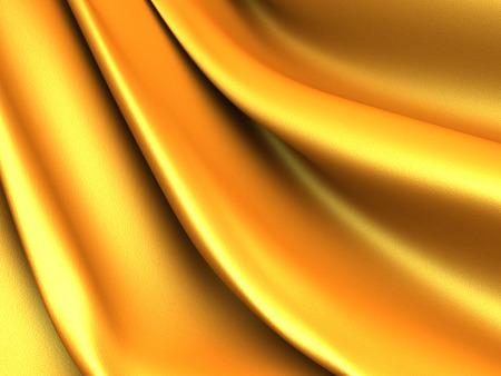 reflect: Golden silk cloth glossy waves luxury background. 3d render illustration