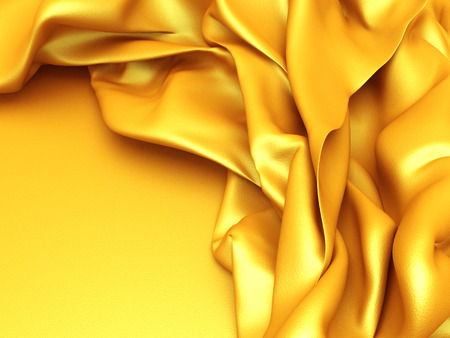 Luxury golden silk satin cloth folds background. 3d render illustration