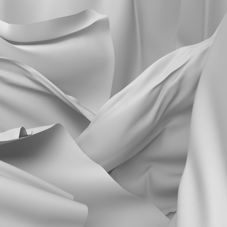white satin: white satin fabric flying cloth waves glamour background. 3d render illustration Stock Photo