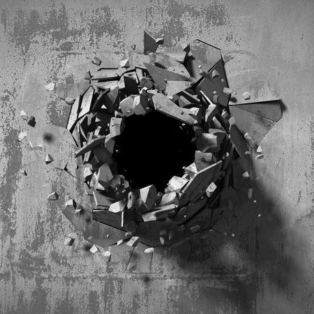 orifice: Dark explosion hole of concrete old wall. 3d render illustration