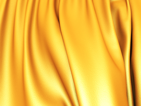 Smooth Gold Satin Cloth Wavy Folds Background. 3d render illustration