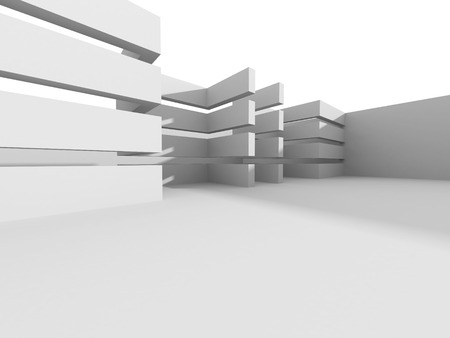 Abstract White Interior. Architecture Background. 3d Render Illustration