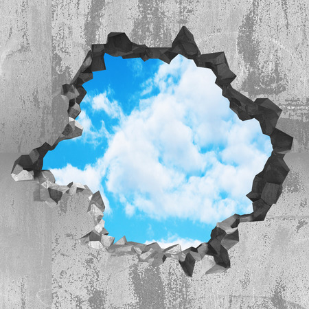 Cracked damage hole in concrete wall to cloudy sky. 3d render illustration