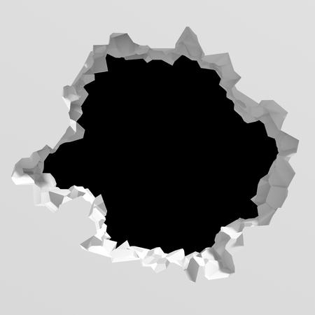Dark destruction cracked hole in white stone wall. 3d render illustration Foto de archivo