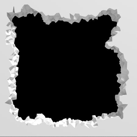 Explosion broken white wall dark black hole. Architecture background. 3d render illustration