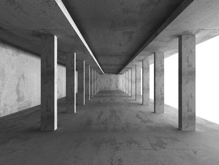 concrete background: Dark Empty Concrete Basement Room Interior Background. 3d Render Illustration