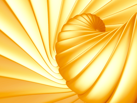 helical: Golden abstract stripe spiral background. 3d render illustration