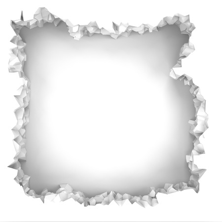 hollow walls: Explosion broken white wall with cracked hole. Abstract background. 3d render illustration Stock Photo