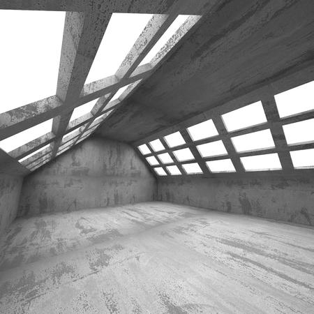 basement: Dark basement empty room interior. Concrete walls. Architecture background. 3d render illustration