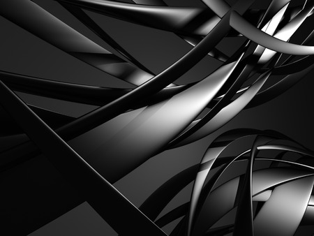 blinding: Dark silver metallic stylish background with smooth wavy lines. 3d reder illustration