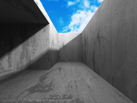 forced perspective: Concrete room with ceiling window to cloudy sky. 3d render illustation Stock Photo