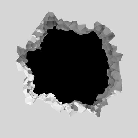pared rota: Explosión rompe la pared blanca con agujero fisuras. Fondo abstracto. 3d ilustración