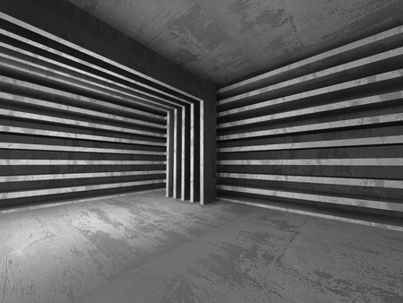 basement: Dark empty concrete basement room interior. Urban architecture background. 3d render illustration Stock Photo