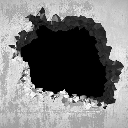 raze: Explosion hole in concrete cracked wall. Industrial background. 3d render illustration Stock Photo