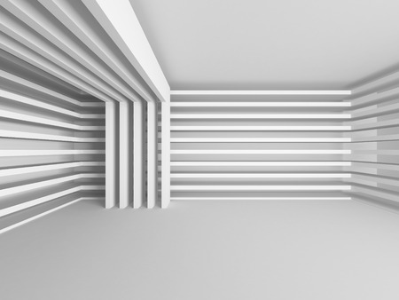 corridors: Abstract Modern White Architecture Background. 3d Render Illustration Stock Photo