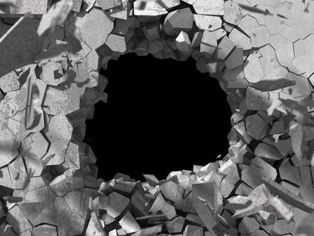 wasteland: Destruction of concrete old wall with explosion demolition hole. 3d render illustration
