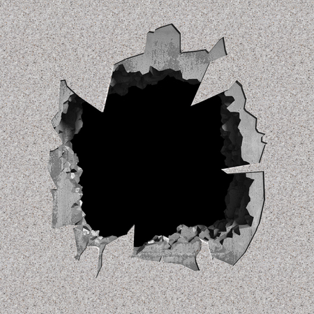 wasteland: Destruction of concrete old wall with cracked demolition hole. 3d render illustration Stock Photo