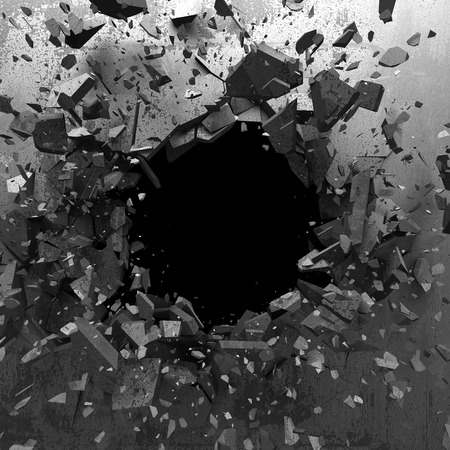 Explosion hole in concrete cracked wall. Industrial background. 3d render illustration Standard-Bild