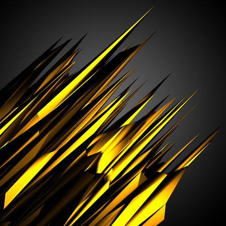 chaotically: Gold black poligon motion futuristic background. 3d render illustration Stock Photo