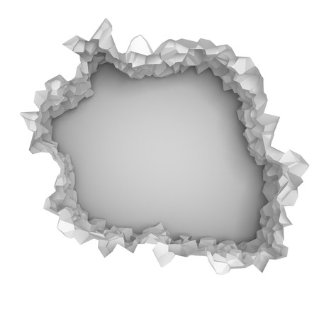 blow hole: Explosion broken white wall with cracked hole. Abstract background. 3d render illustration Stock Photo