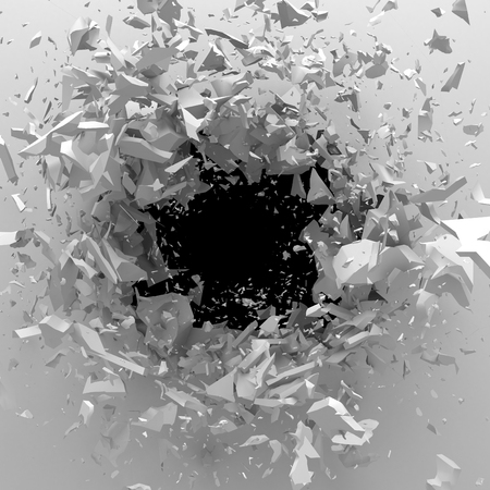 hollow wall: Explosion broken white wall with cracked hole. Abstract background. 3d render illustration Stock Photo