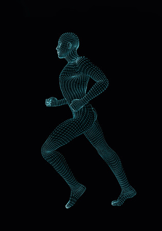 steadily: Slowly running man. 3D render illustration Stock Photo