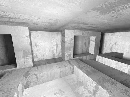 Habitación Oscura Y Vacía. Oxidadas Paredes De Hormigón. La ...