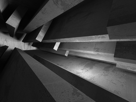 Empty dark abstract concrete room interior architecture background. 3d render illustration Фото со стока