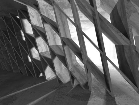 Empty dark abstract concrete room interior architecture background. 3d render illustration Stock Photo