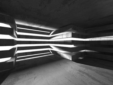 muddy: Dark empty room. Concrete rusty walls. Architecture grunge background. 3d render illustration