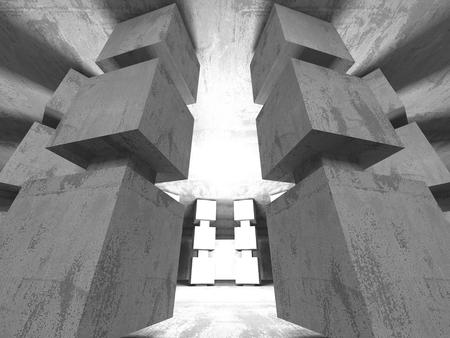 old brick wall: Dark empty room. Concrete rusty walls. Architecture grunge background. 3d render illustration