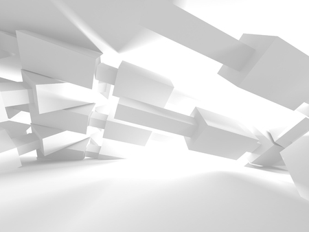 futuristic city: Abstract Modern White Architecture Background. 3d Render Illustration Stock Photo