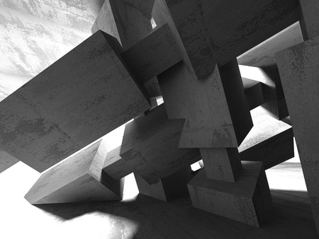 concrete background: Dark empty room. Concrete rusty walls. Architecture grunge background. 3d render illustration
