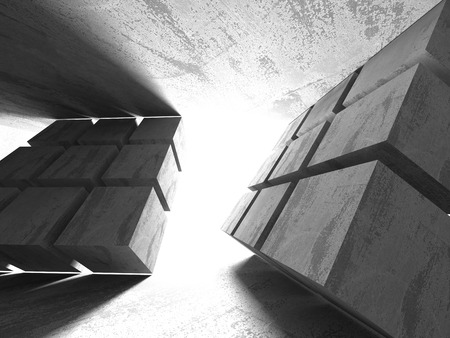 beton: Abstract geometric concrete architecture background. 3d render illustration
