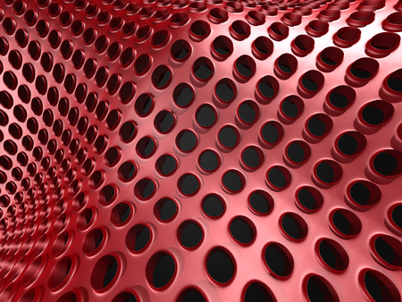 Red Industrial Metallic Shiny Background. 3d Render Illustration