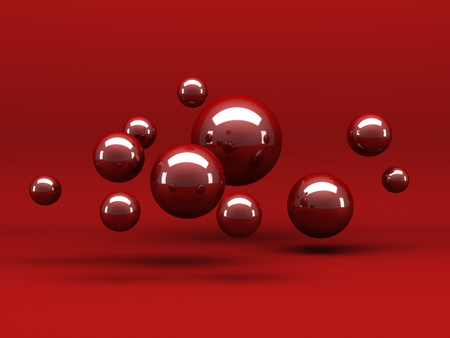 Abstract Red Shiny Spheres Background. 3d Render Illustration
