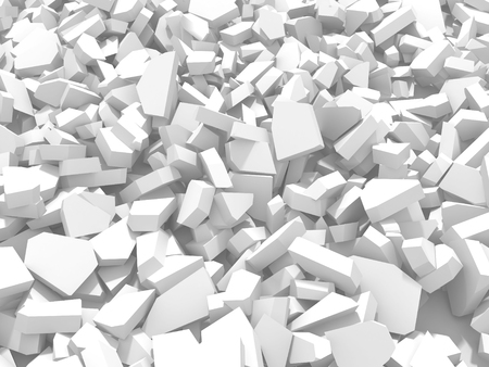 White cracked rock pieces of destruction wall. 3d render illustration Stock Photo