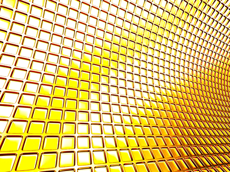 diminishing perspective: Golden Boxes Abstract Surface Background. 3d Render Illustration