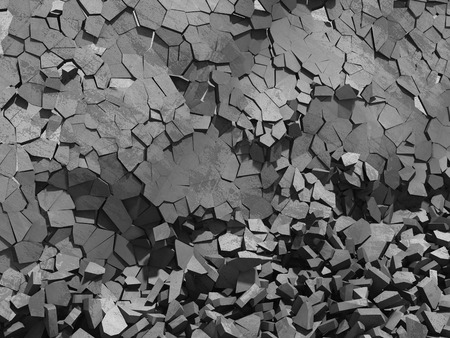 Concrete chaotic fragments of explosion destruction wall. Abstract background. 3d render illustration