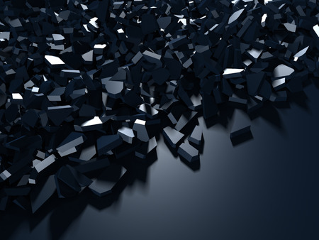 Cracked blue shiny demolition broken surface background. 3d render illustration