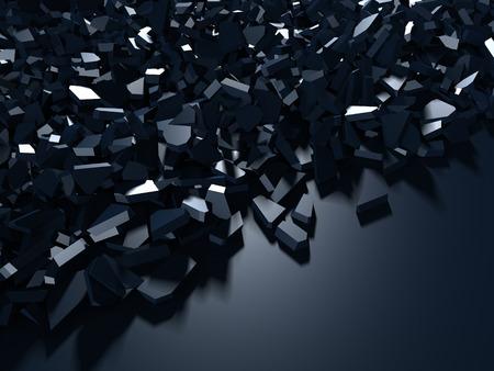 Gebarsten blauwe glanzende vernieling gebroken oppervlakteachtergrond. 3d render illustratie