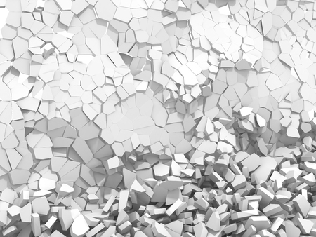 White cracked rock pieces of destruction wall. 3d render illustration Stok Fotoğraf