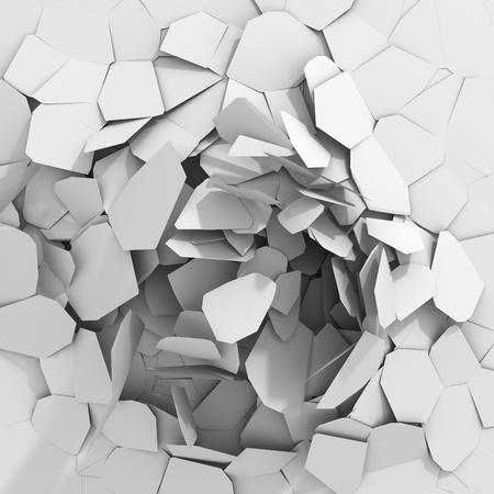 Cracked white damage ground surface. 3d render illustration